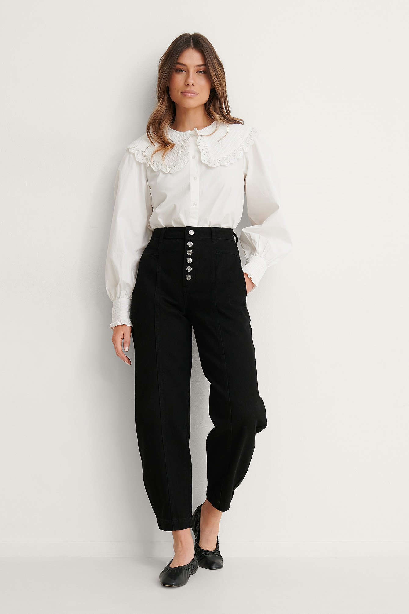 Black Button Fly Cocoon Jeans