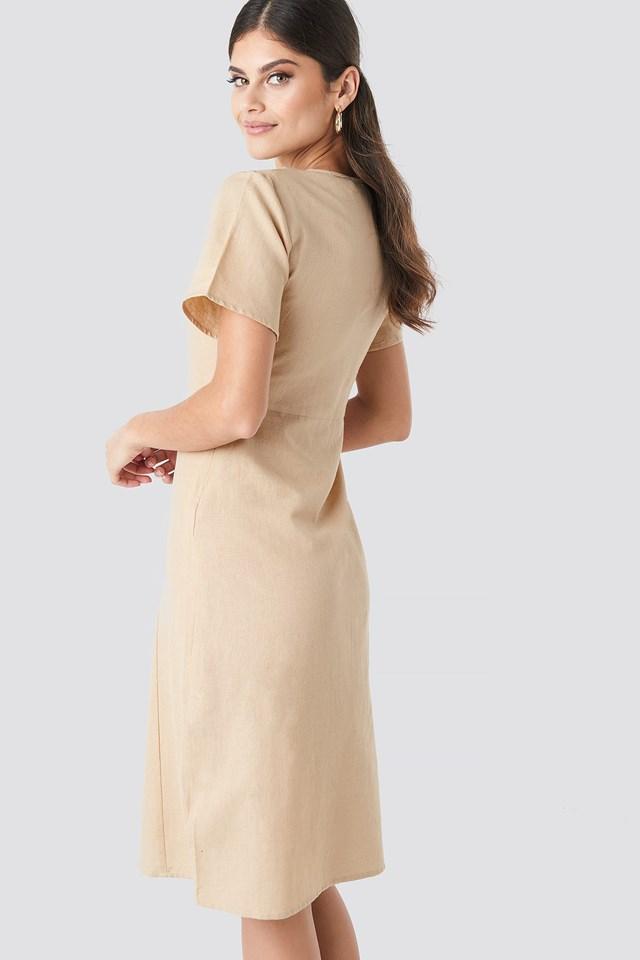 Button Front Linen-blend Dress Light Beige