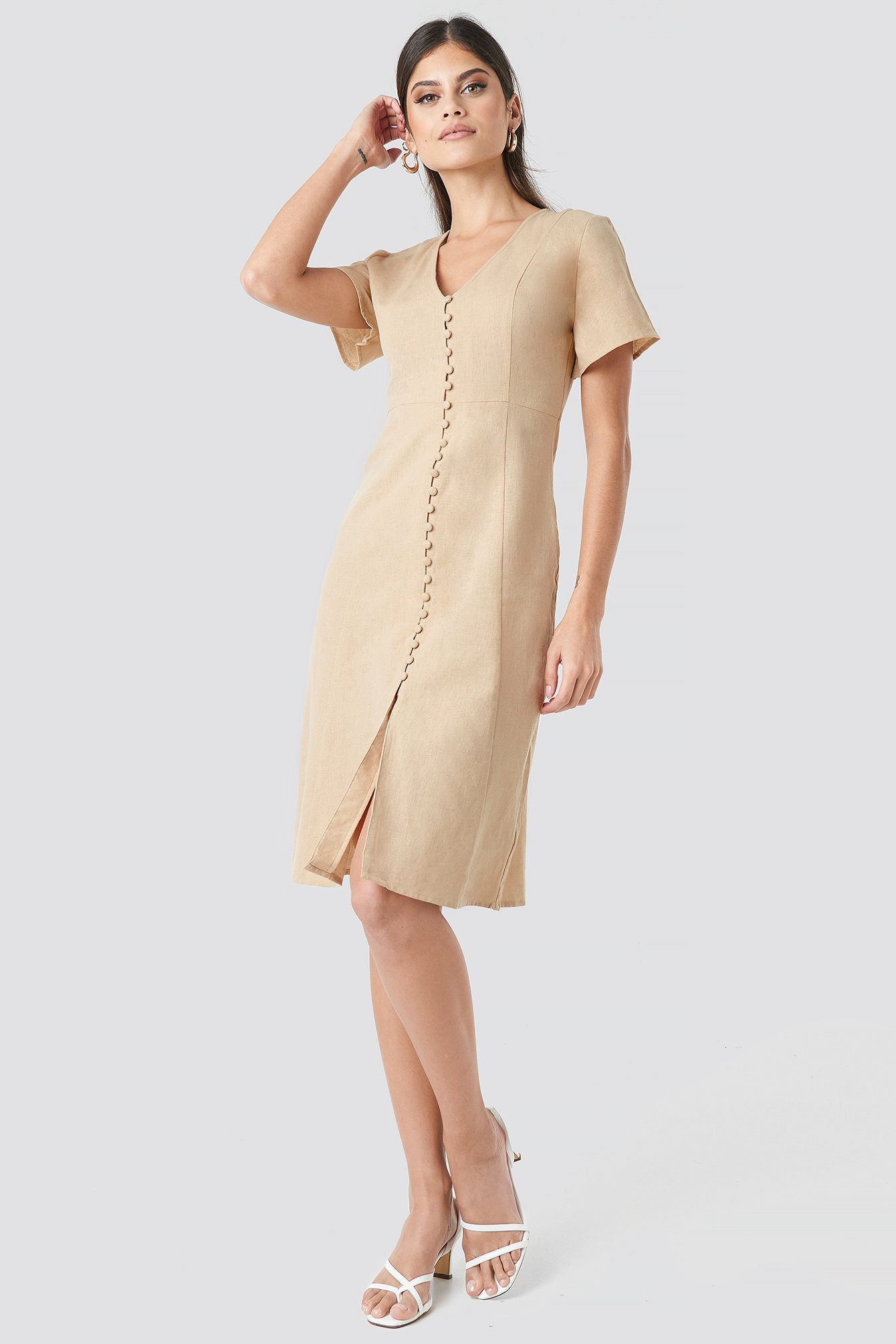 Button Front Linen-blend Dress NA-KD.COM