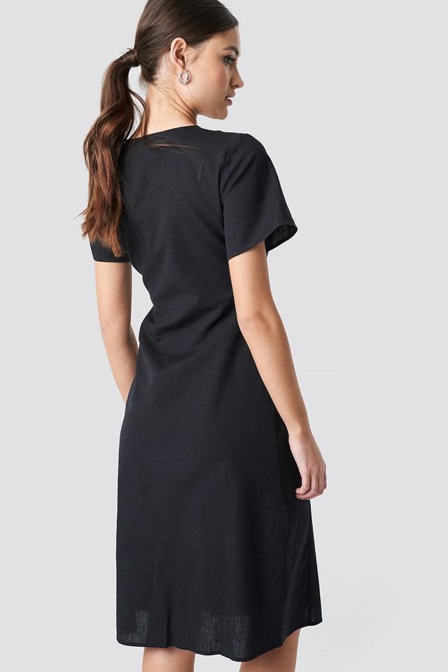 Button Front Linen-blend Dress Black