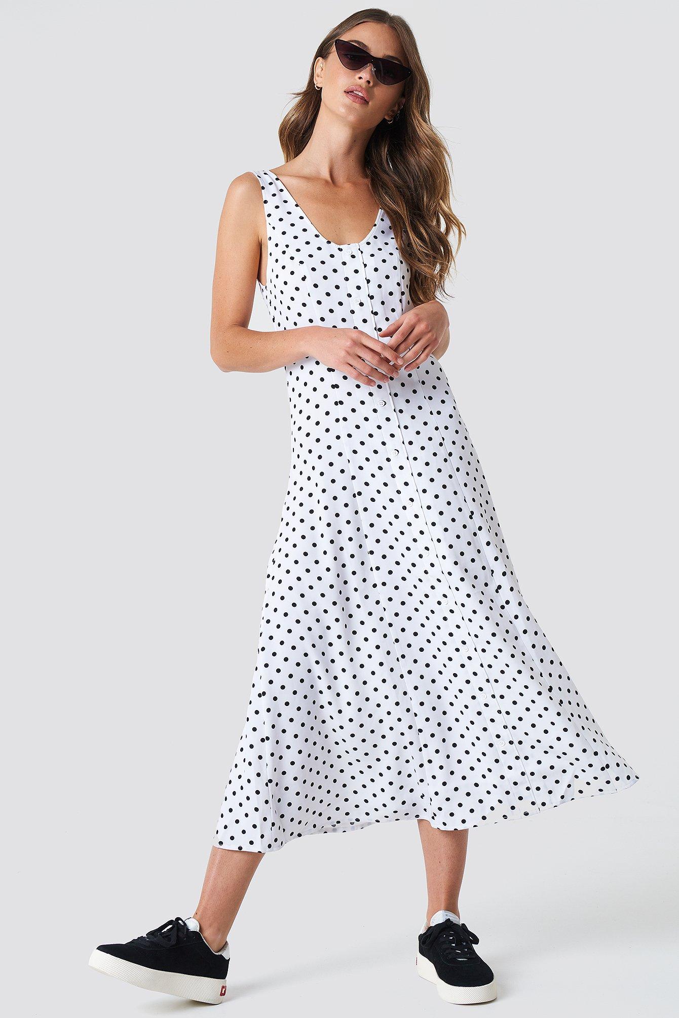 Button Front Midi Dress White/Black Dot | na-kd.com