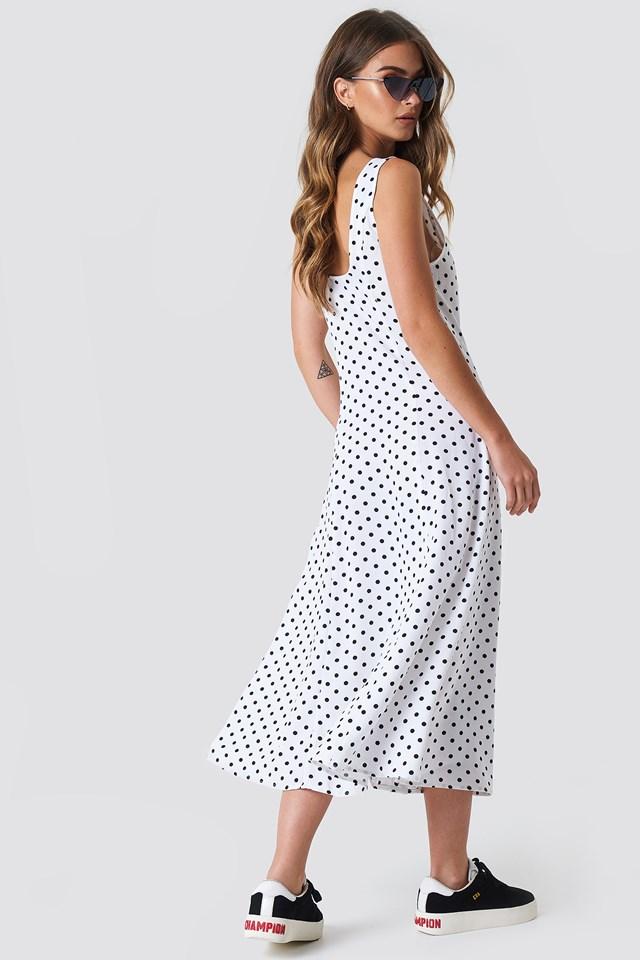 Button Front Midi Dress White/Black Dot