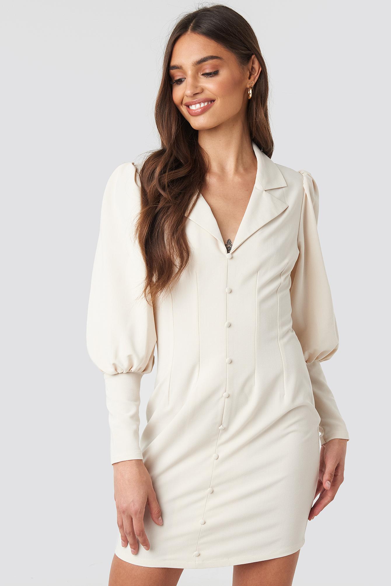 Button Front Mini Dress NA-KD.COM