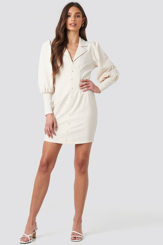 Button Front Mini Dress Offwhite