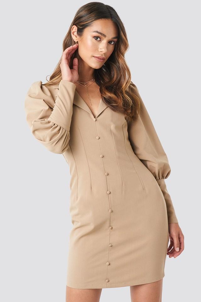 Button Front Mini Dress Beige