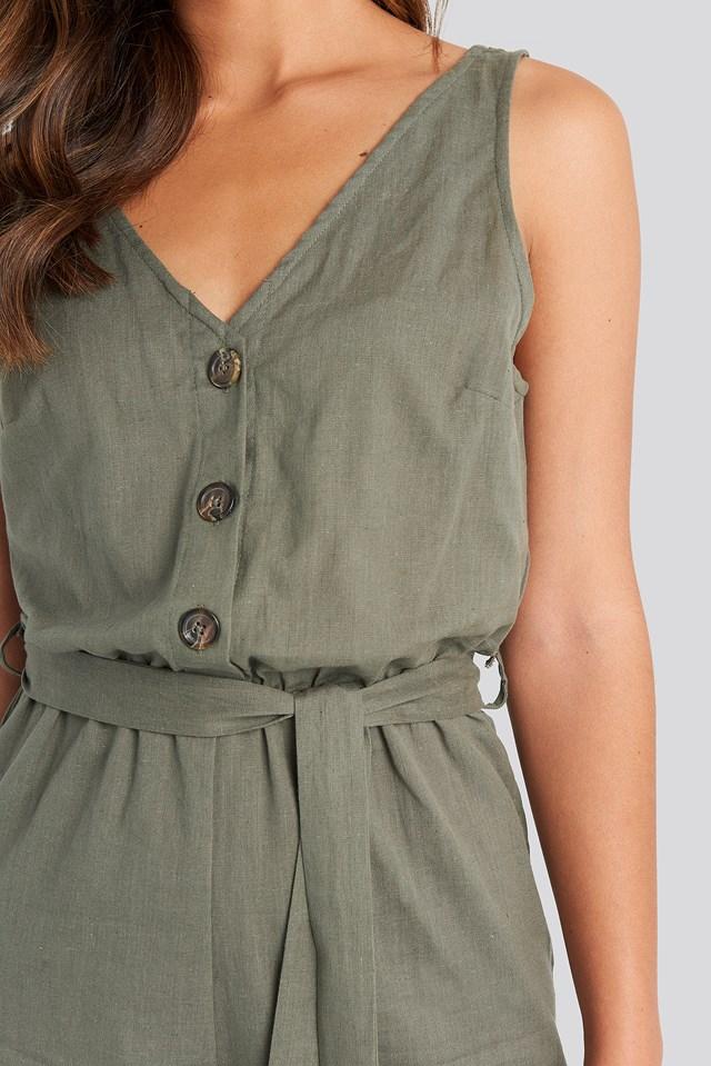Button Front Tie Waist Playsuit Green