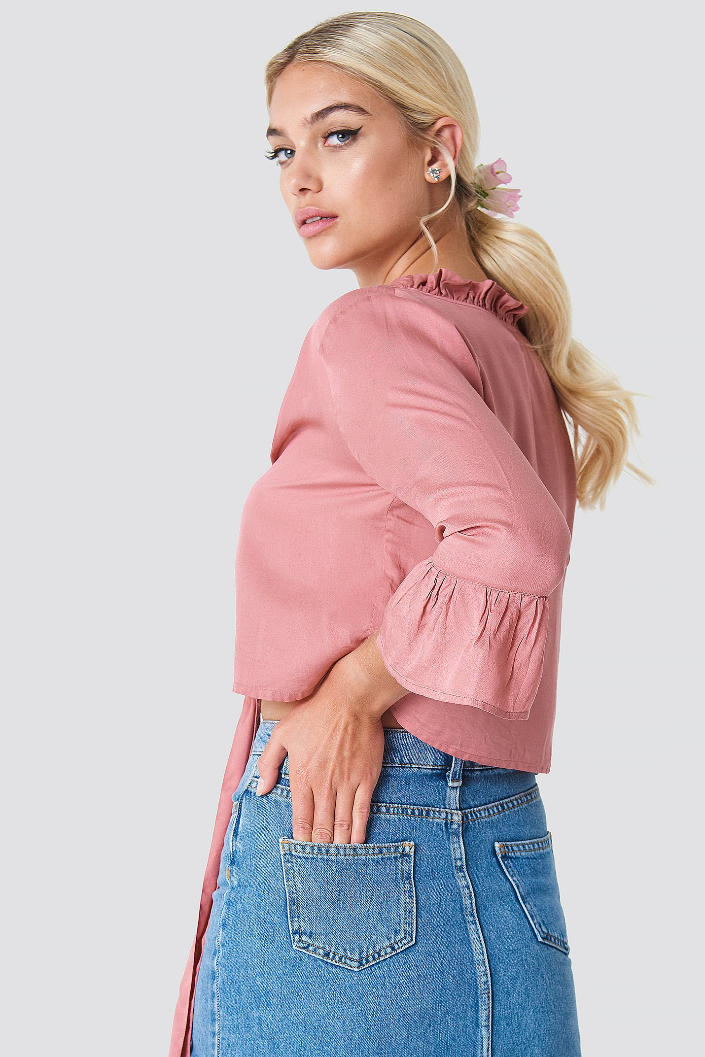 Dusty Rose Button Knot Blouse