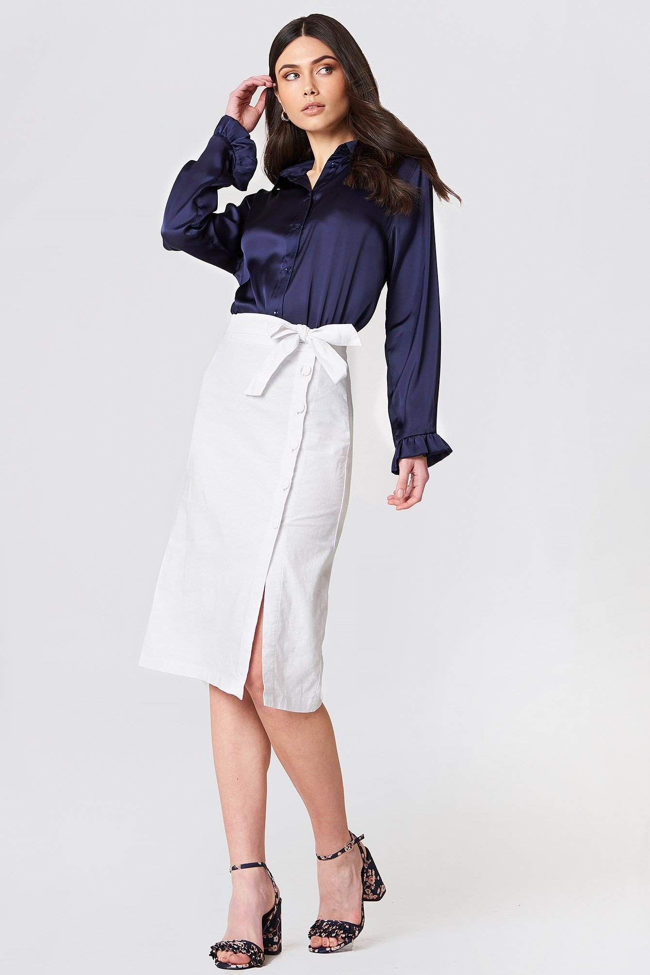 Button Linen Look Midi Skirt NA-KD.COM