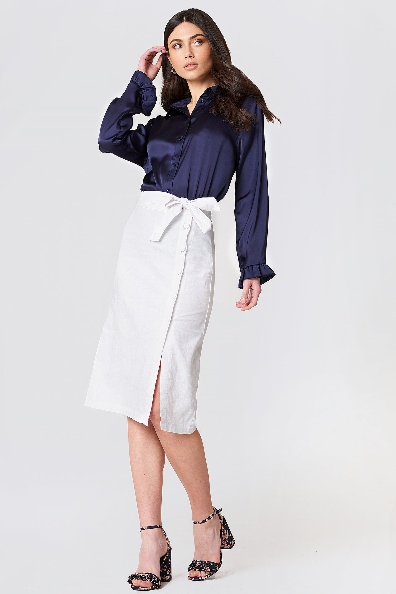na-kd boho -  Button Linen Look Midi Skirt - White