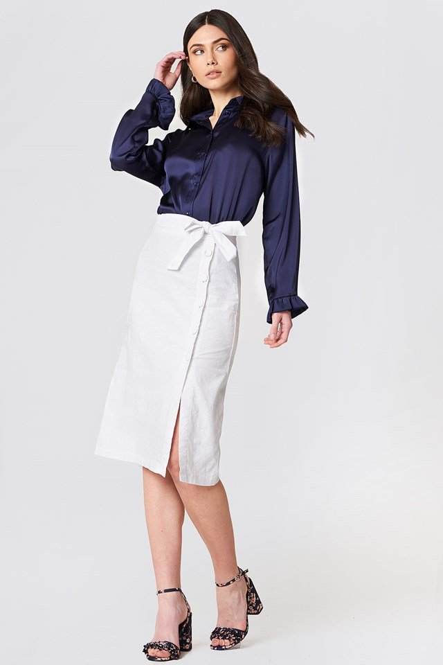Button Linen Look Midi Skirt White