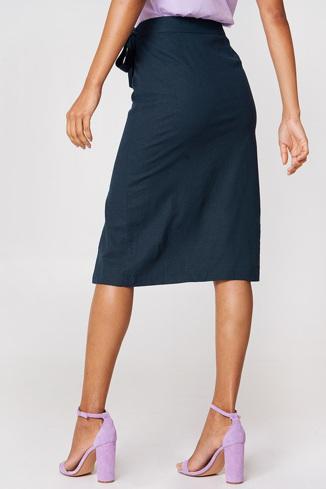 Button Linen Look Midi Skirt Dark Blue