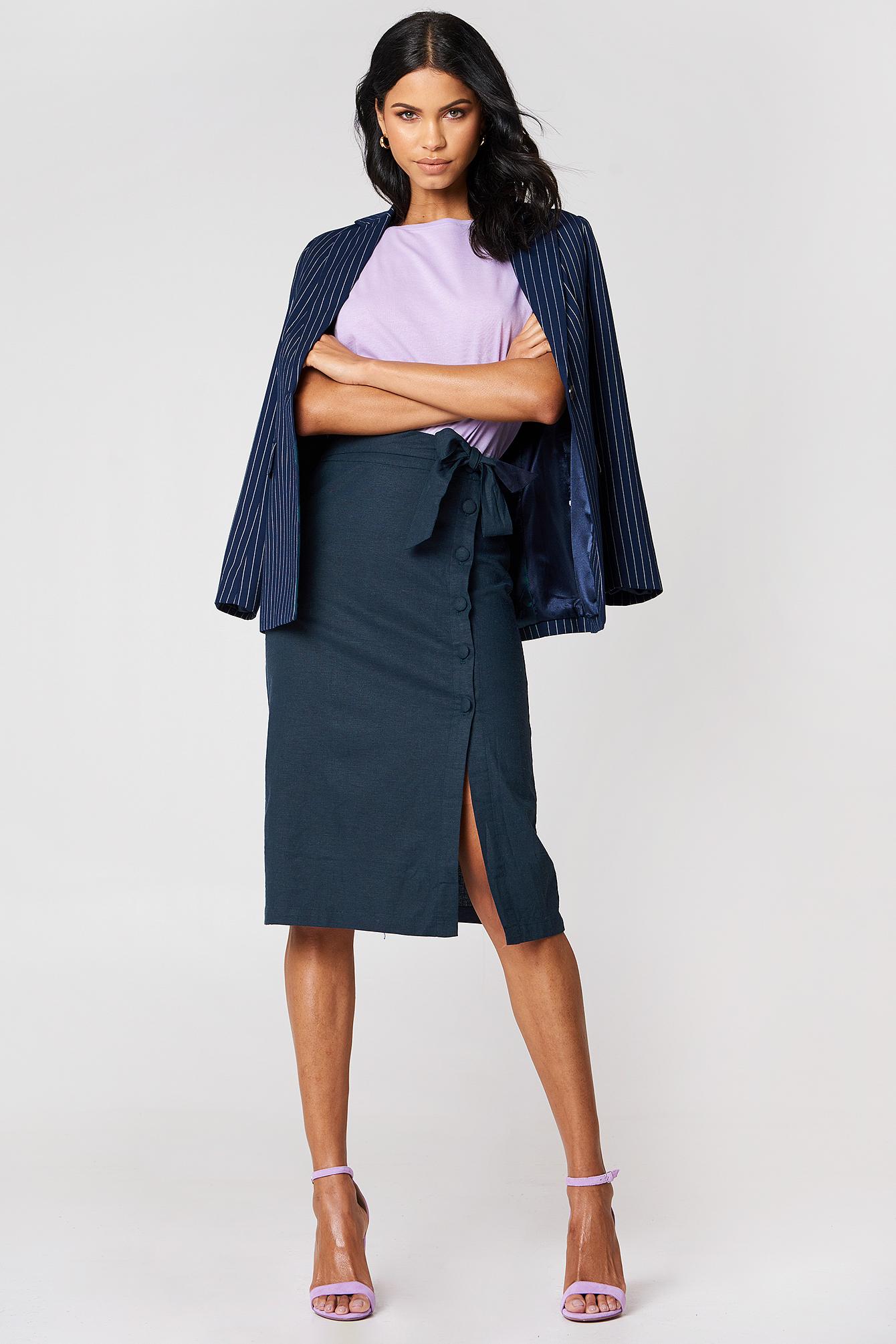 Button Linen Look Midi Skirt NA-KD.COM