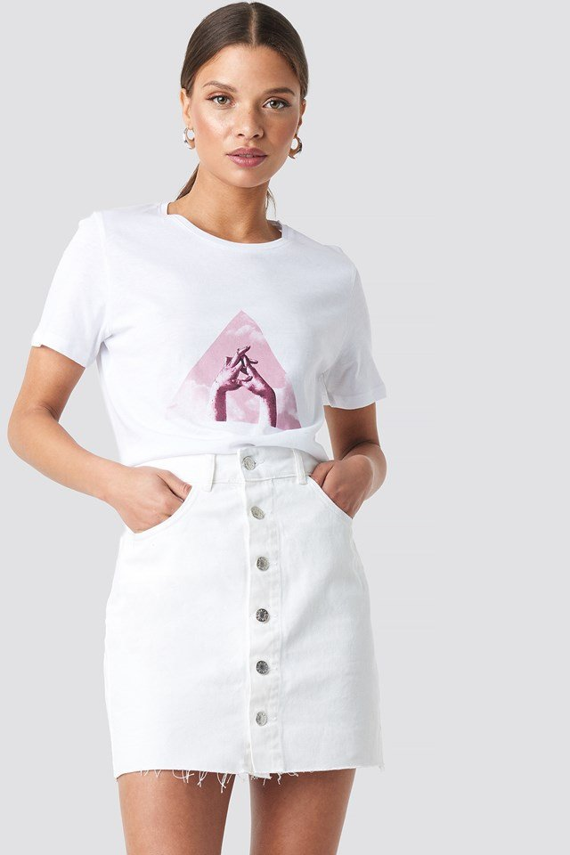 Button Raw Hem Denim Skirt White