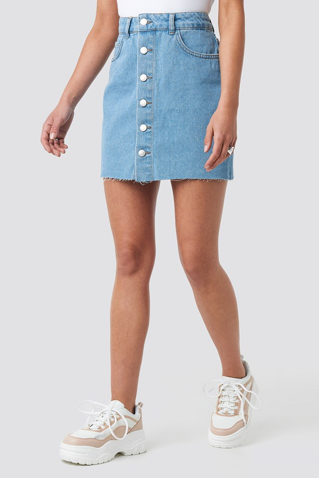 Button Raw Hem Denim Skirt Light Blue