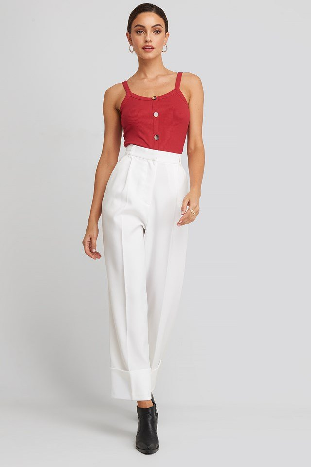 Button Rib Tank Top Tango Red