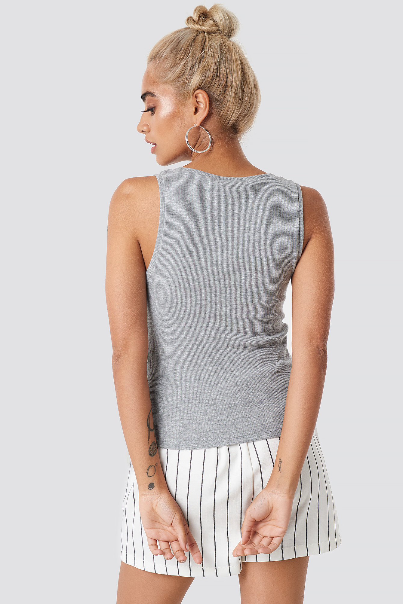 Button Ribbed Tank Top NA-KD.COM