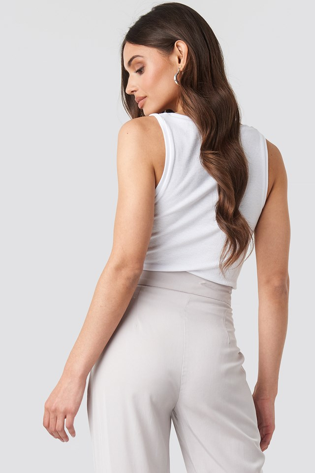 Button Ribbed Tank Top Offwhite