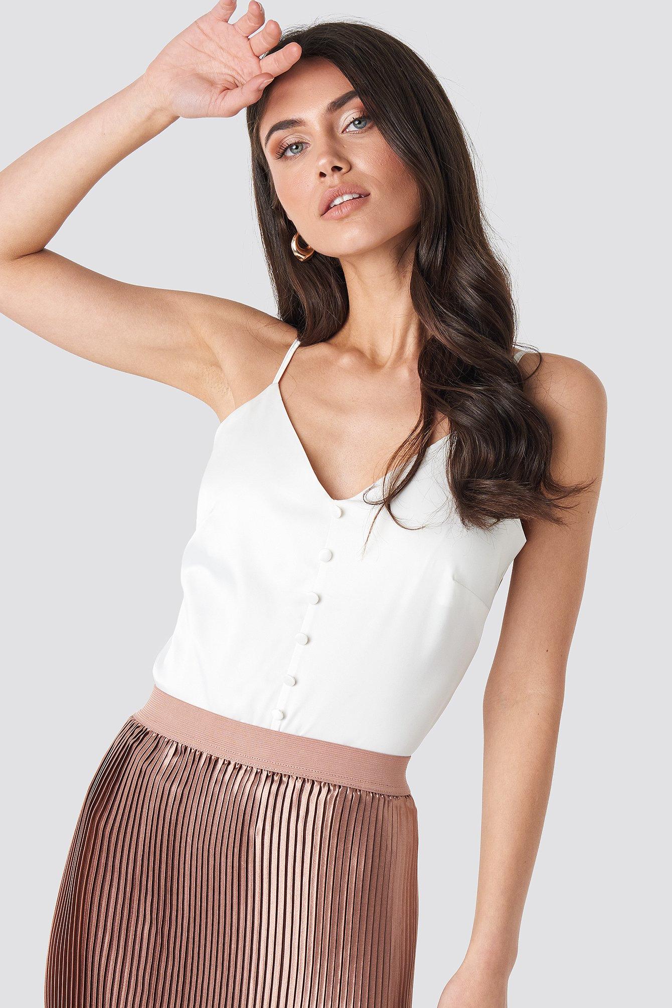 na-kd -  Button Satin Cami top - White