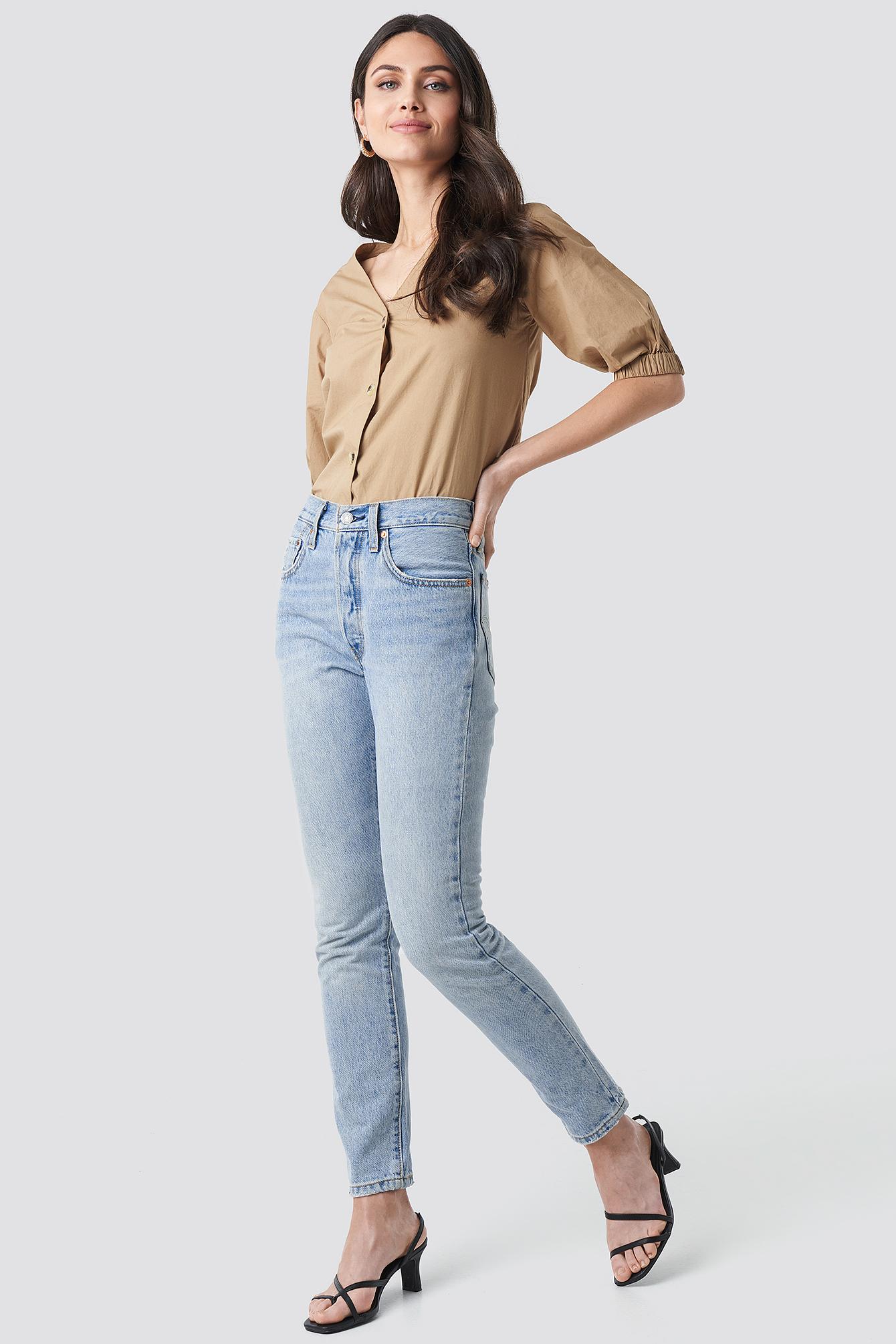 Button Short Sleeve Blouse NA-KD.COM