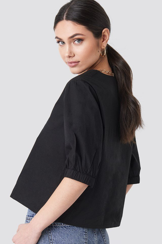 Button Short Sleeve Blouse NA-KD.COM