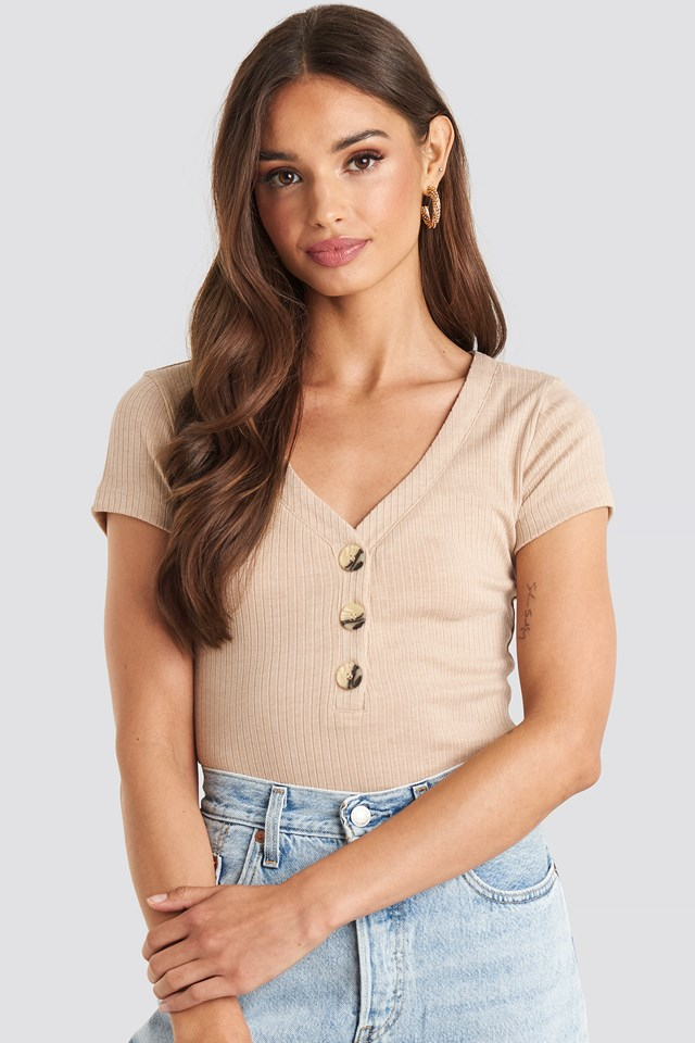Button Short Sleeve Top Light Beige