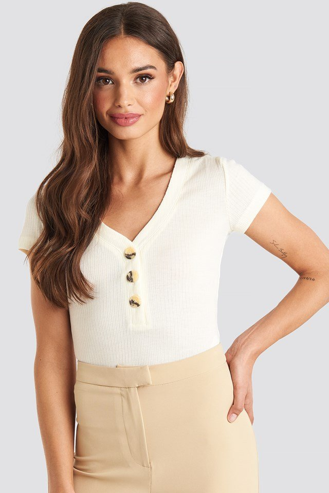 Button Short Sleeve Top Offwhite