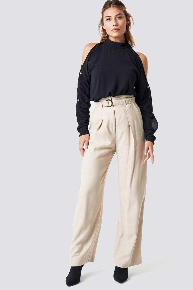 Button Sleeve Blouse Black