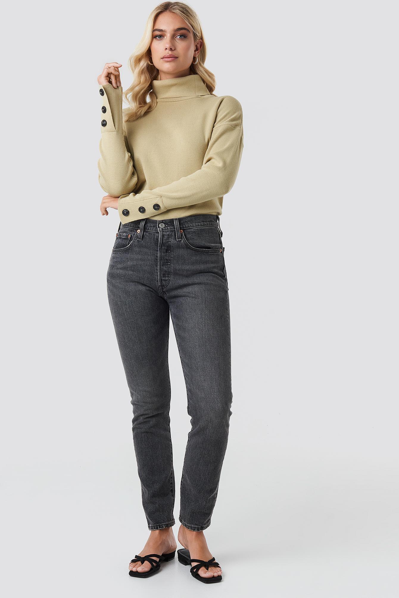 Button Sleeve Highneck Sweater NA-KD.COM