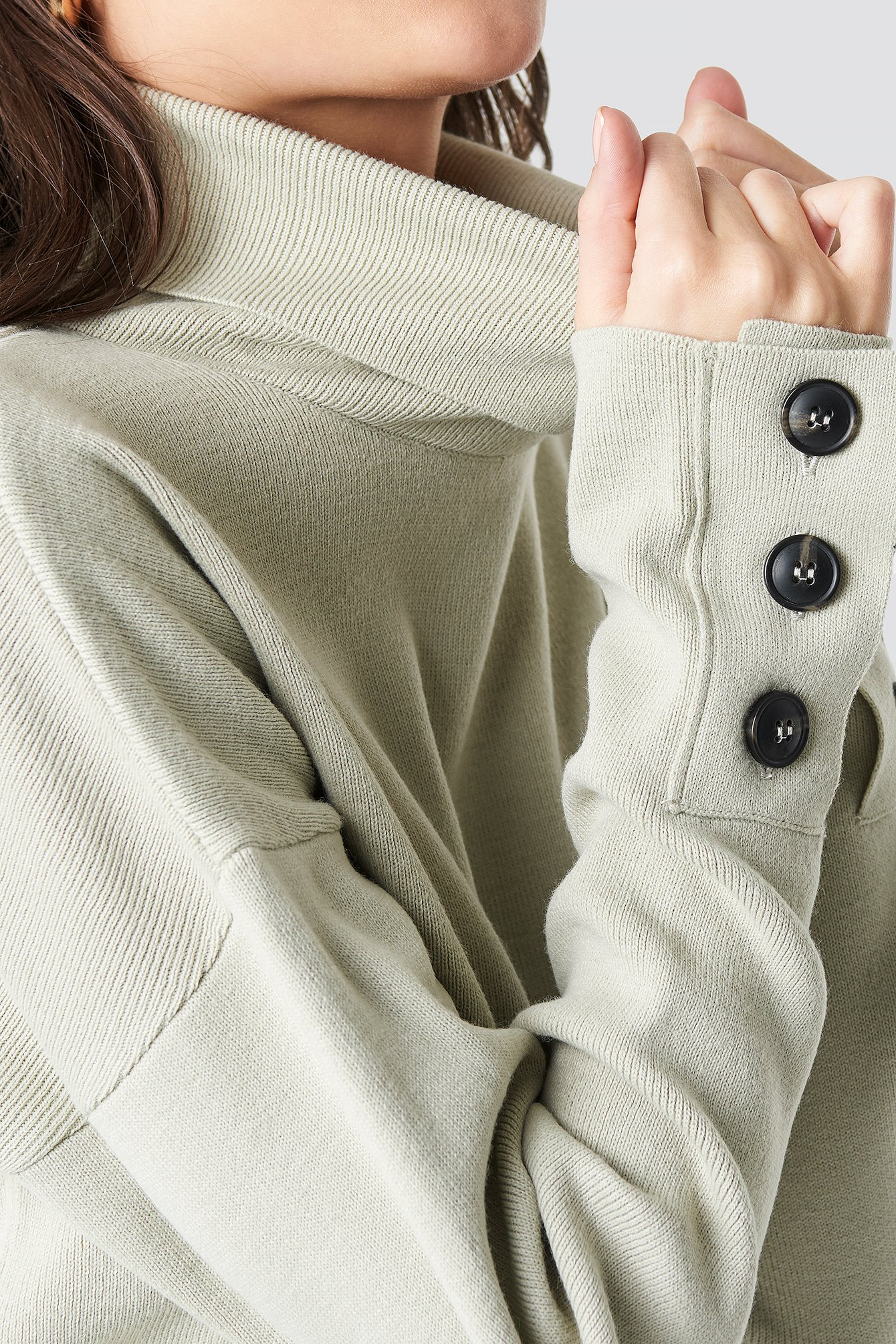 Button Sleeve Highneck Sweater NA-KD.COM