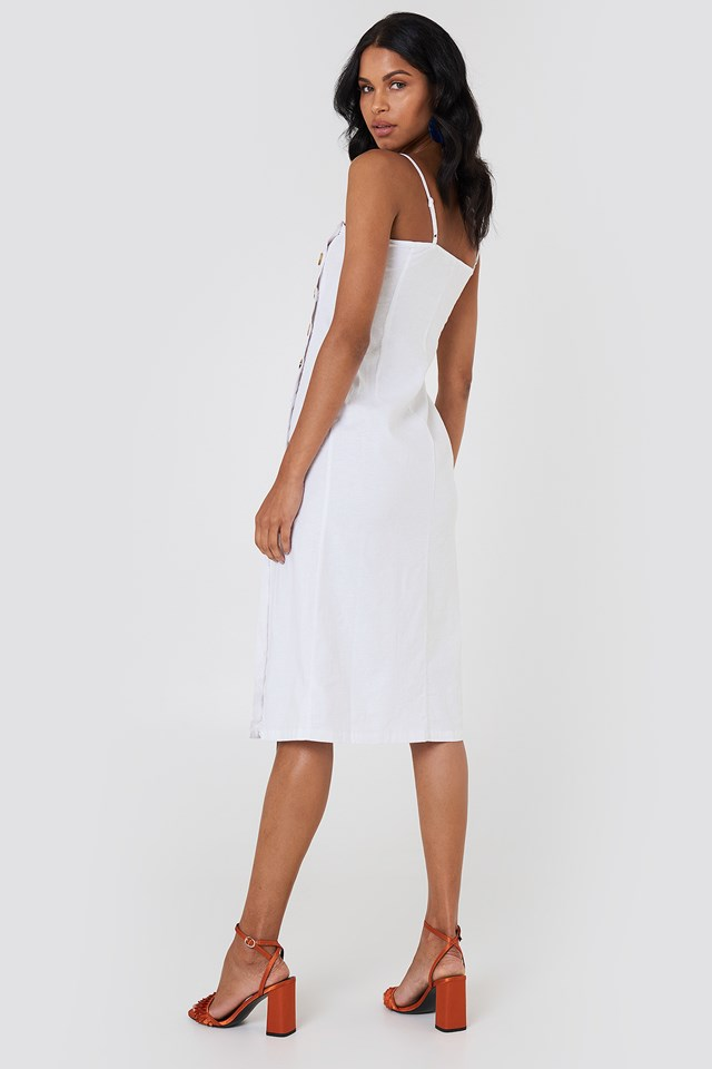 Button Slip Linen Look Dress White