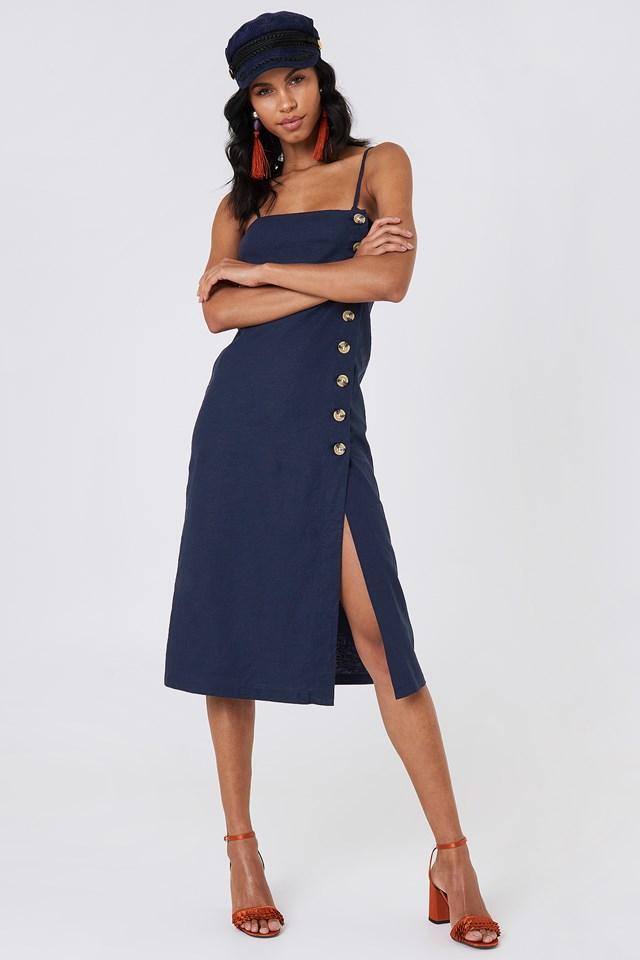 Button Slip Linen Look Dress NA-KD Boho