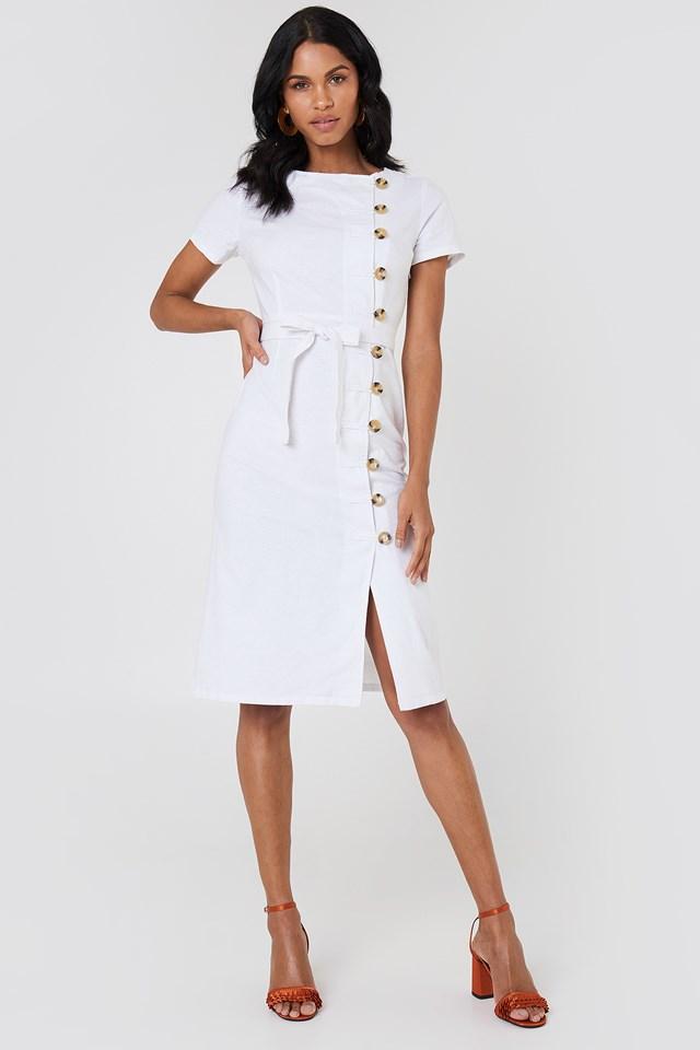 Lniana sukienka z guzikami White