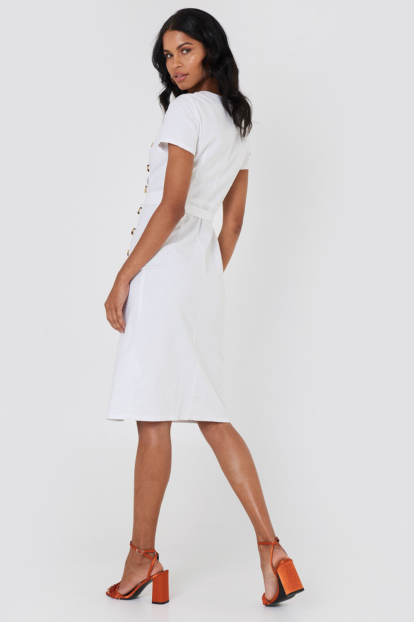 Button Straight Linen Look Dress NA-KD.COM