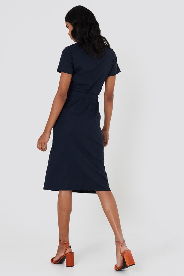 Button Straight Linen Look Dress Dark Blue