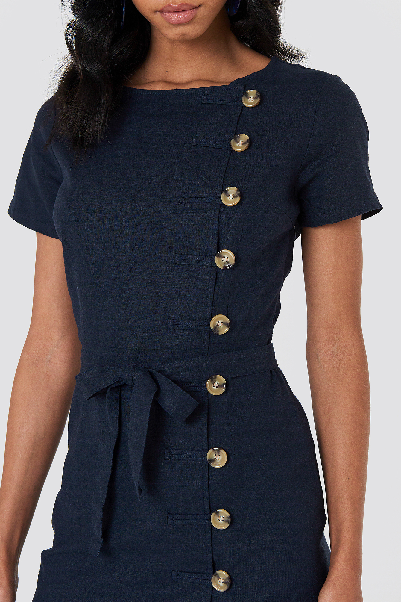 Dark Blue Button Straight Linen Look Dress