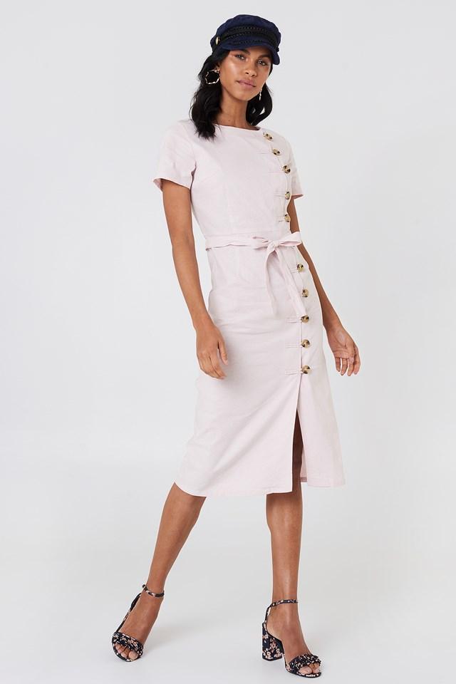 Button Straight Linen Look Dress Light Pink