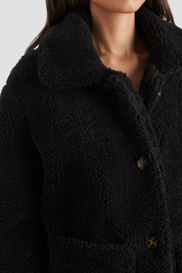 Button Teddy Jacket Black