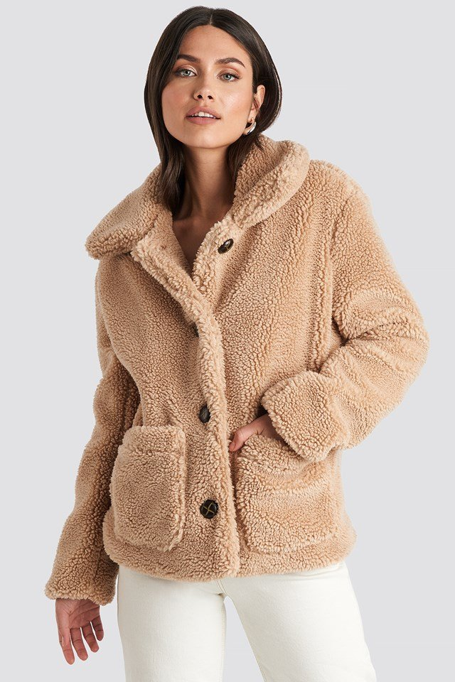 Button Teddy Jacket Beige