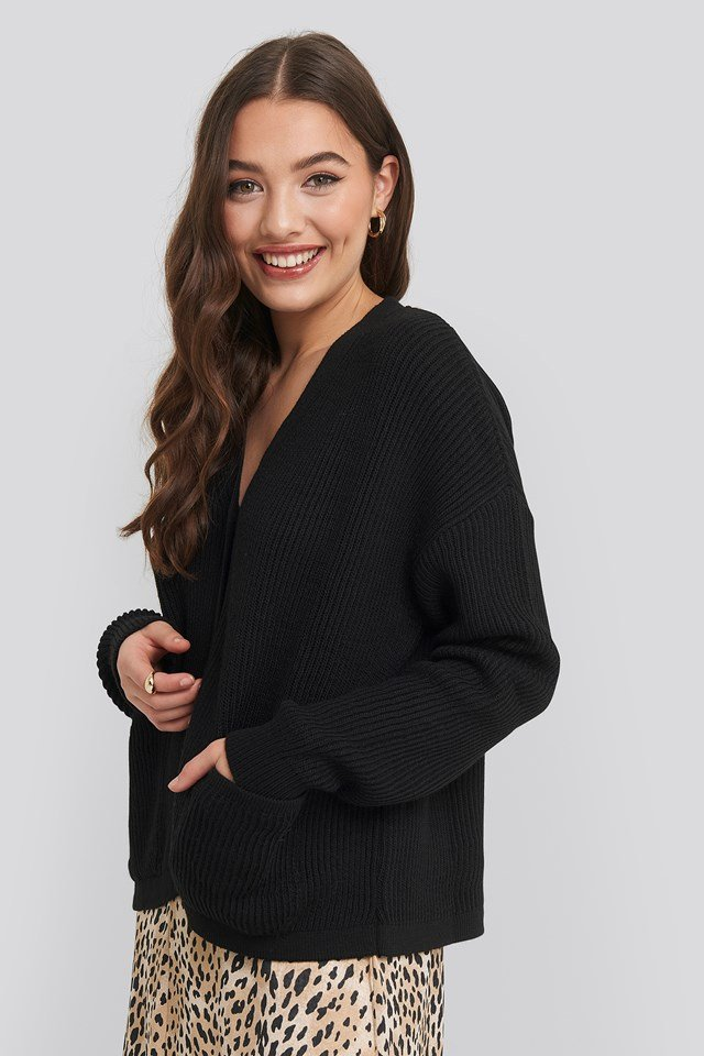 Button Up Boxy Cropped Cardigan Black
