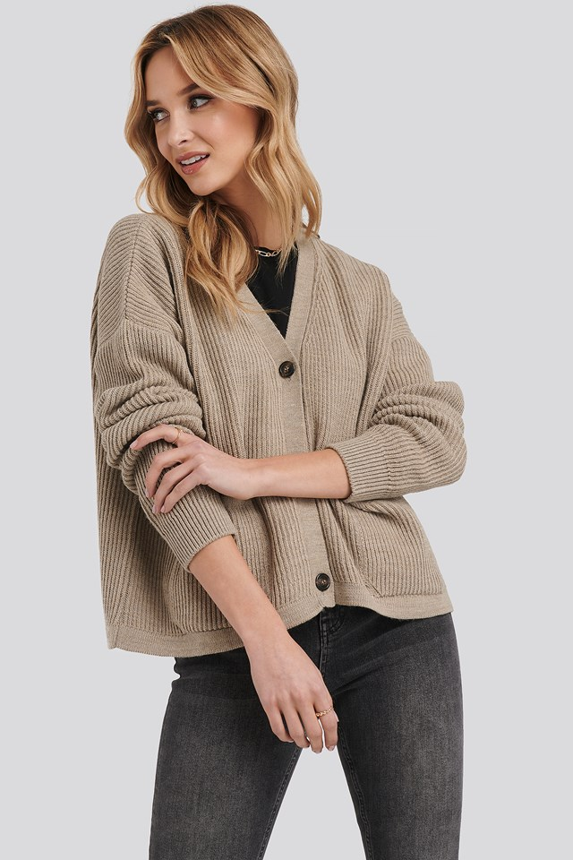 Button Up Boxy Cropped Cardigan Beige