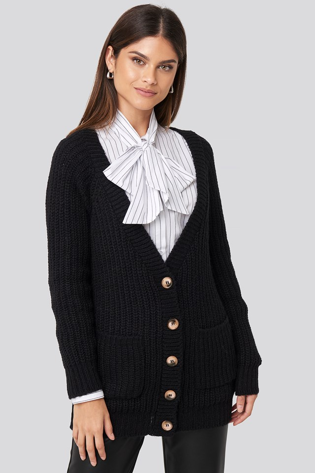Button Up Chunky Cardigan Deep Black