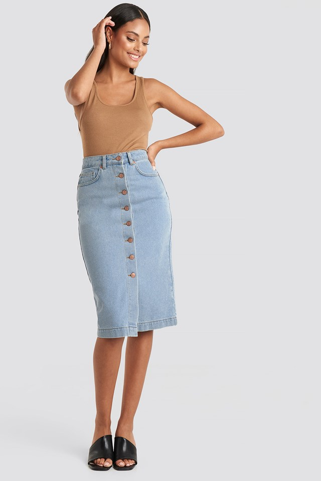 Button Up Denim Midi Skirt Light Blue
