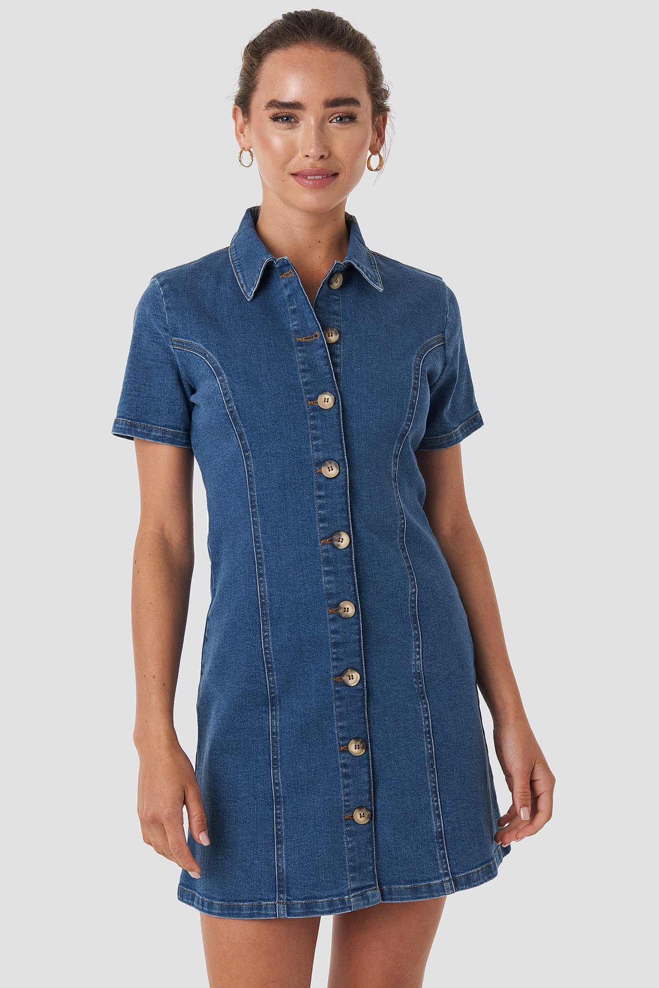 na-kd -  Button Up Denim Mini Dress - Blue