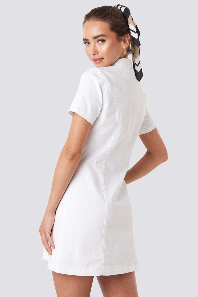 Button Up Denim Mini Dress White