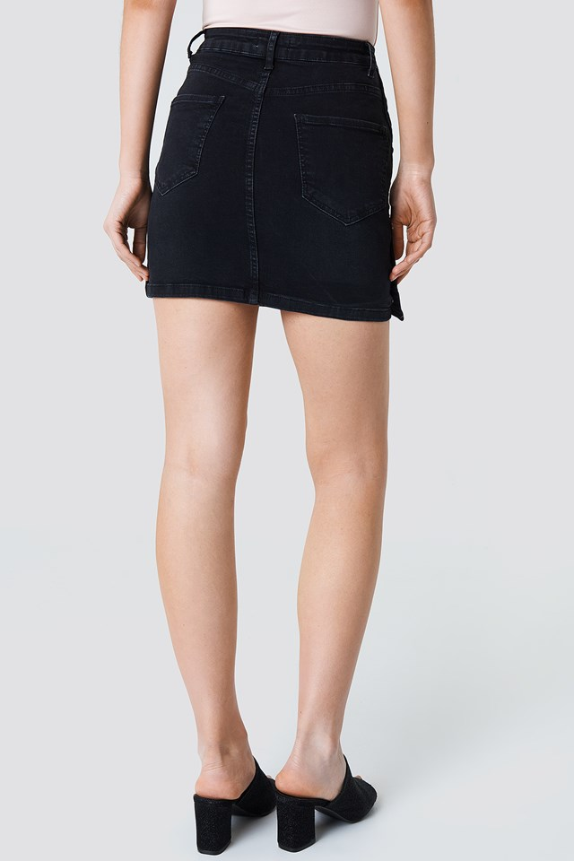 Button Up Denim Skirt Black