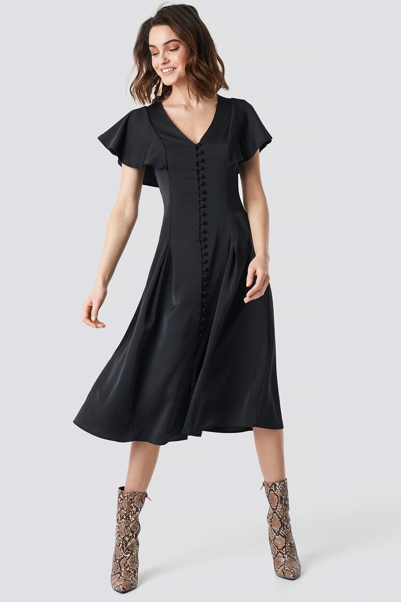 Button Up Flounce Sleeve Dress NA-KD.COM