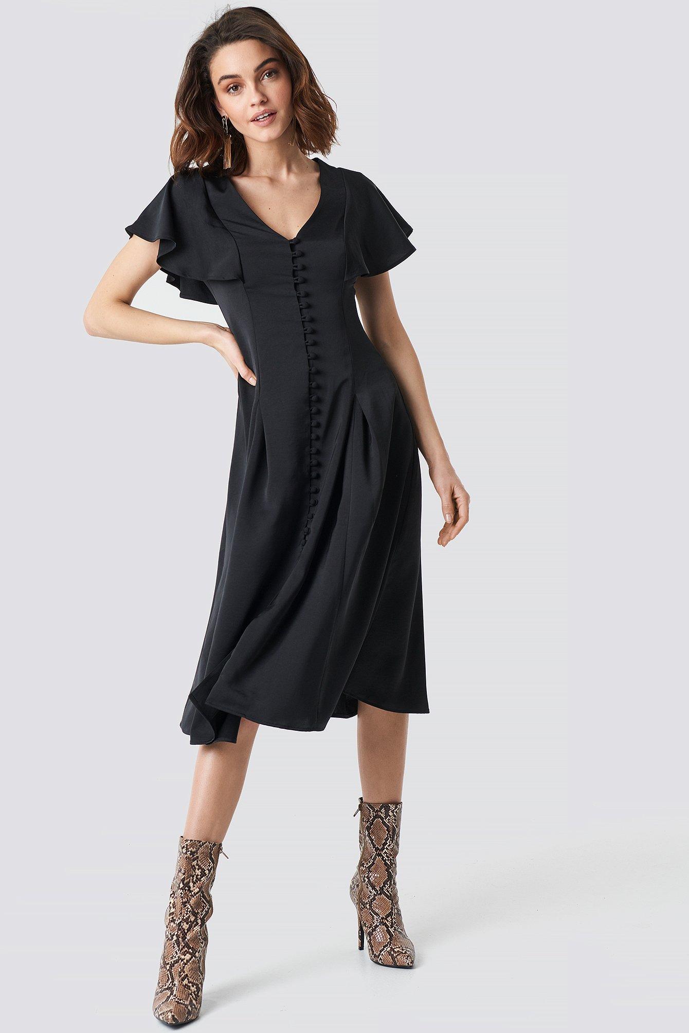 Button Up Flounce Sleeve Dress NA-KD.COM