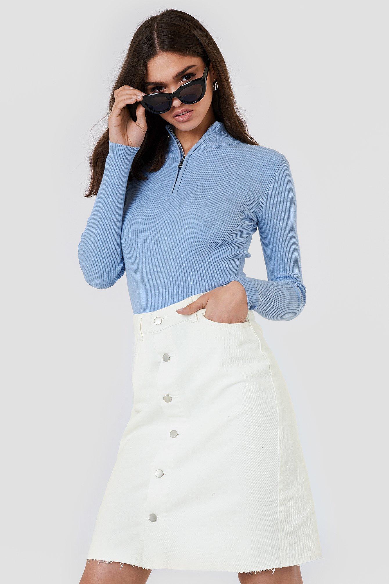 na-kd -  Button Up Long Denim Skirt - White