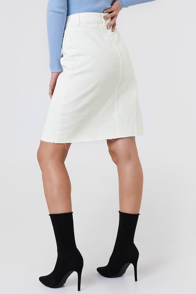 Button Up Long Denim Skirt White