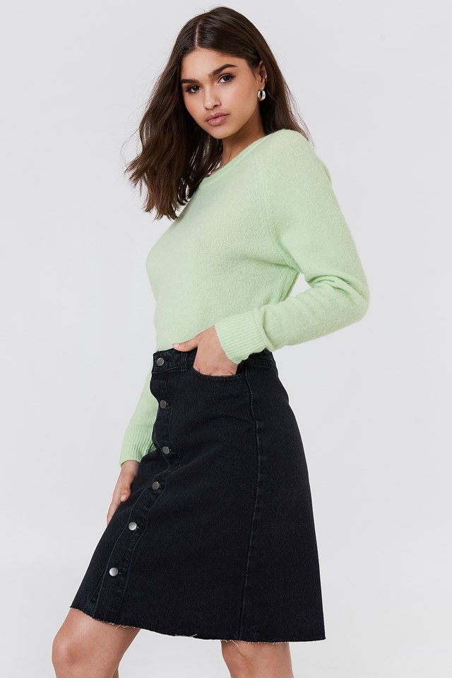 Button Up Long Denim Skirt Black